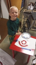 Silas had his very own painting project!