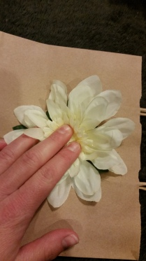 Attaching Flower to Bag